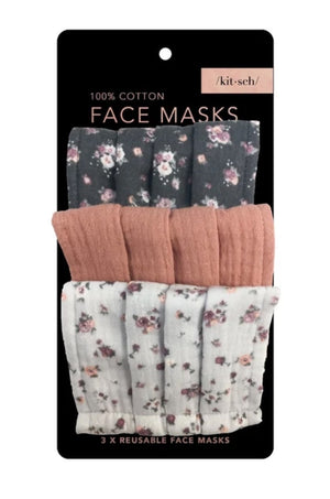3 Pc Vintage Floral Face Masks by Kitsch