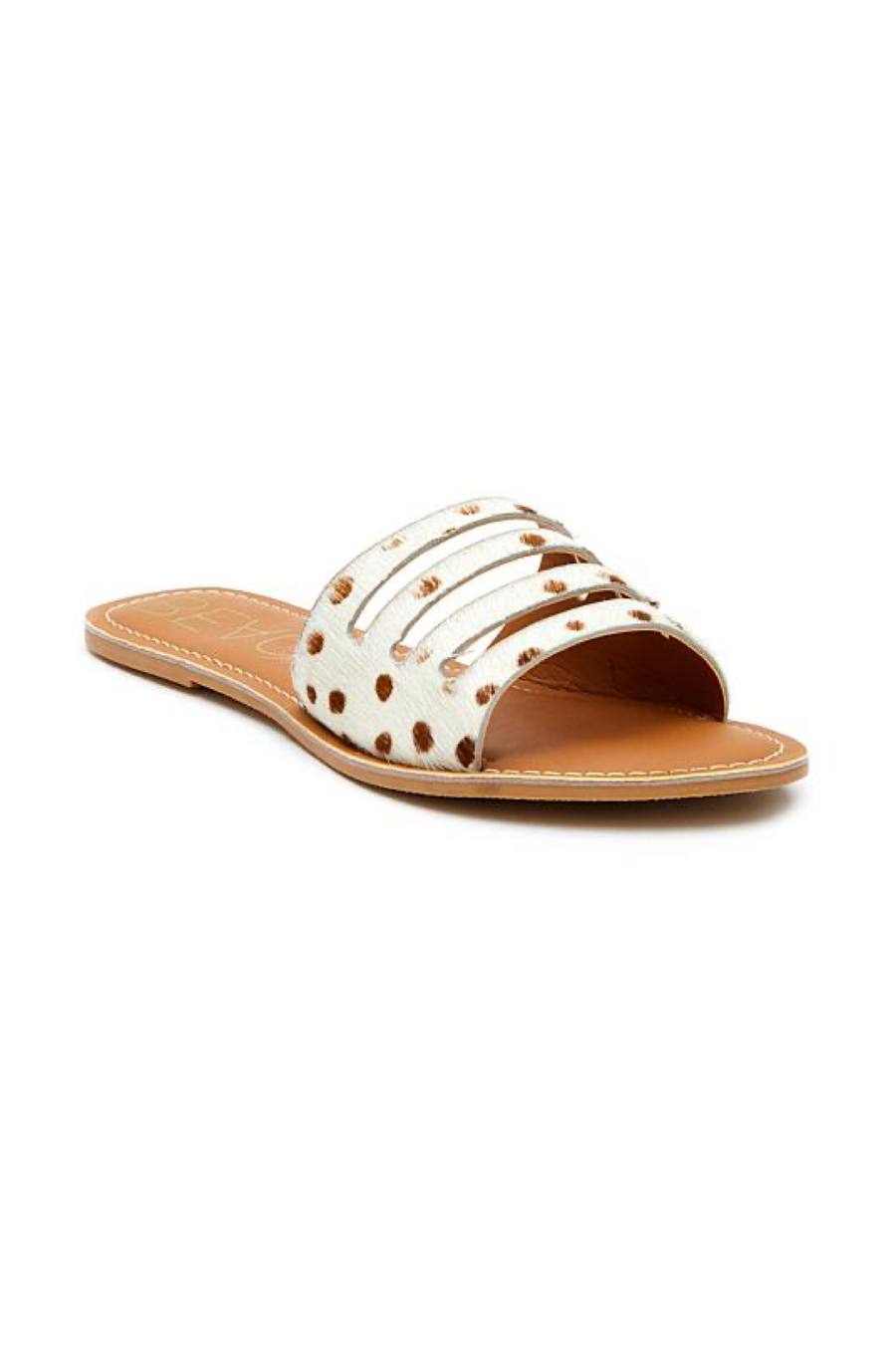 Brown Spot Calf Hair Boardwalk Slides by Matisse