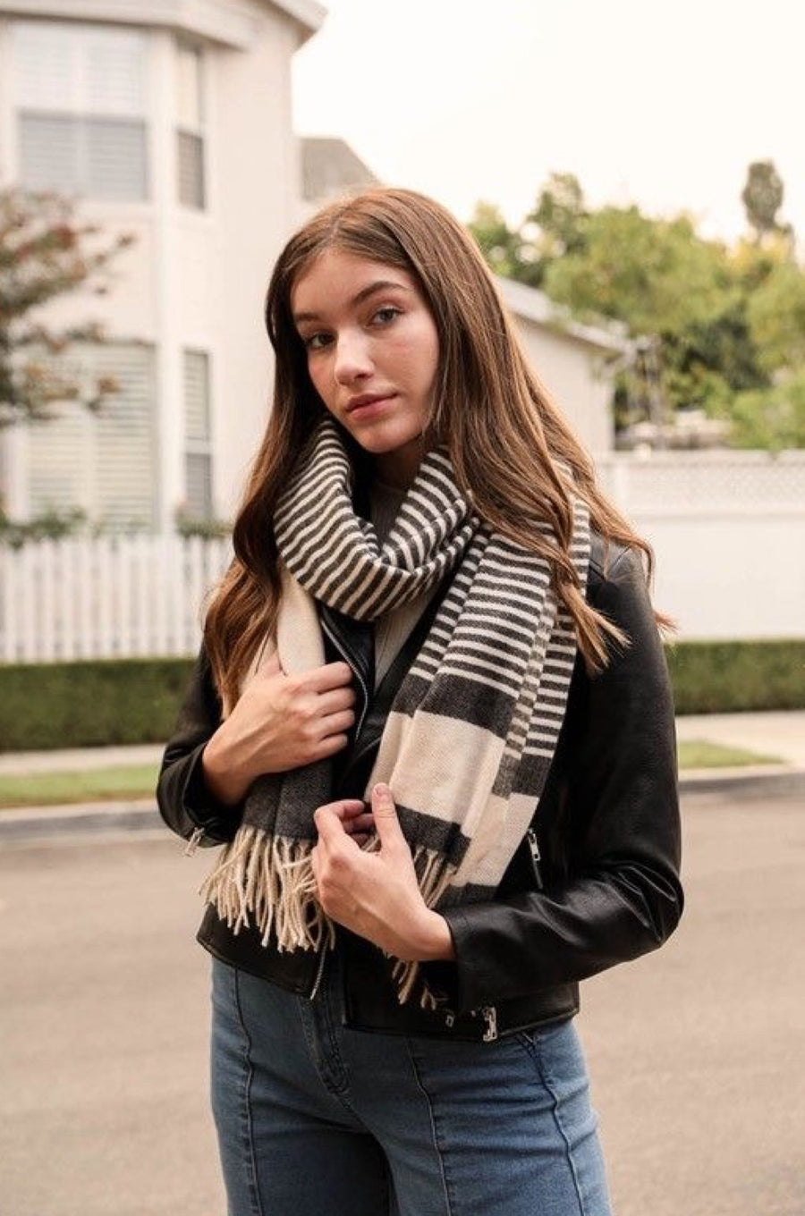 Feelin' Cozy Striped Tassel Scarf