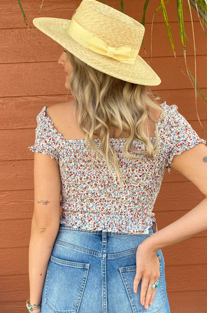 Mazzy Floral Ruched Crop Top