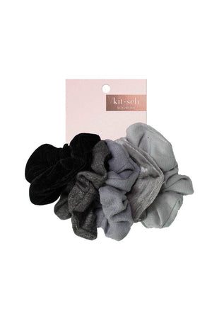 5 Pc Black + Gray Velvet Scrunchies by Kitsch
