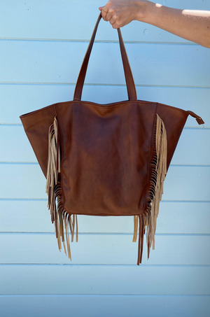 Ubud Chocolate Fringe Tote Bag by Pamela V