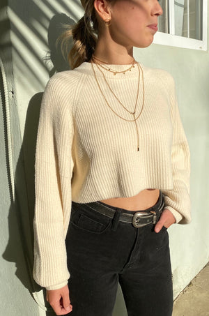 Sweet Cream Micro Fuzz Cropped Sweater