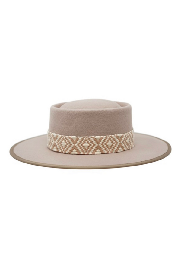 Farrah Wool Felt Boater Hat by Olive & Pique