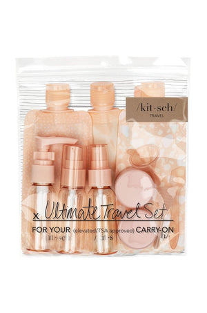11 Pc Blush Refillable Ultimate Travel Set by Kitsch