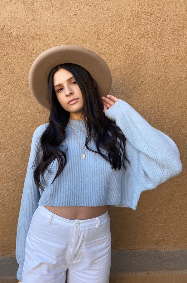 Sky Blue Micro Fuzz Cropped Sweater