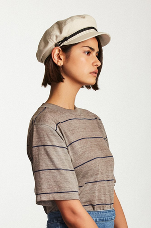 Off White Fiddler Cap with Black Band by Brixton