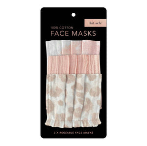 3 Pc Blush + Tan Face Masks by Kitsch