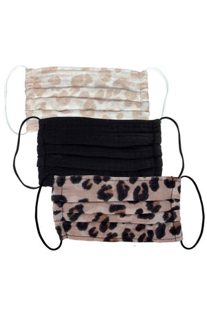3 Pc Black + Tan Leopard Face Masks by Kitsch