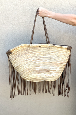 Taupe Flea Market Basket Bag by Pamela V