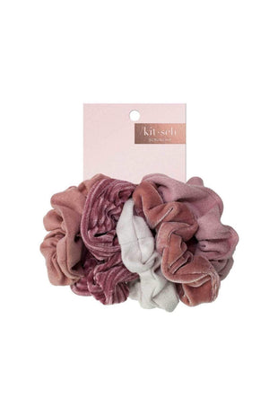 5 Pc Blush Velvet Scrunchies by Kitsch