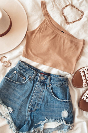 Tan Stefani One Shoulder Tank