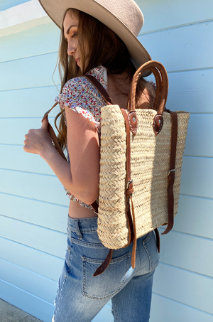 Paloma Seagrass + Leather Backpack by Pamela V