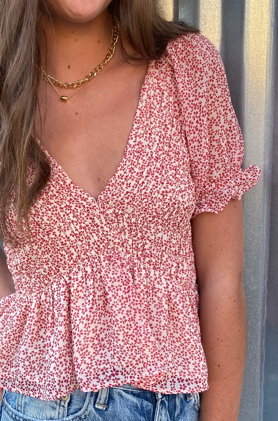 Raspberry Fields Floral Top