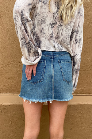 Skye Zip Denim Skirt by Free People