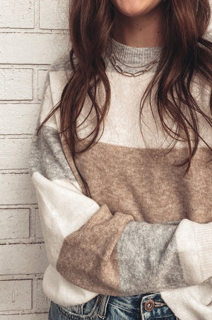 Grey + Tan Striped Softest Sweater