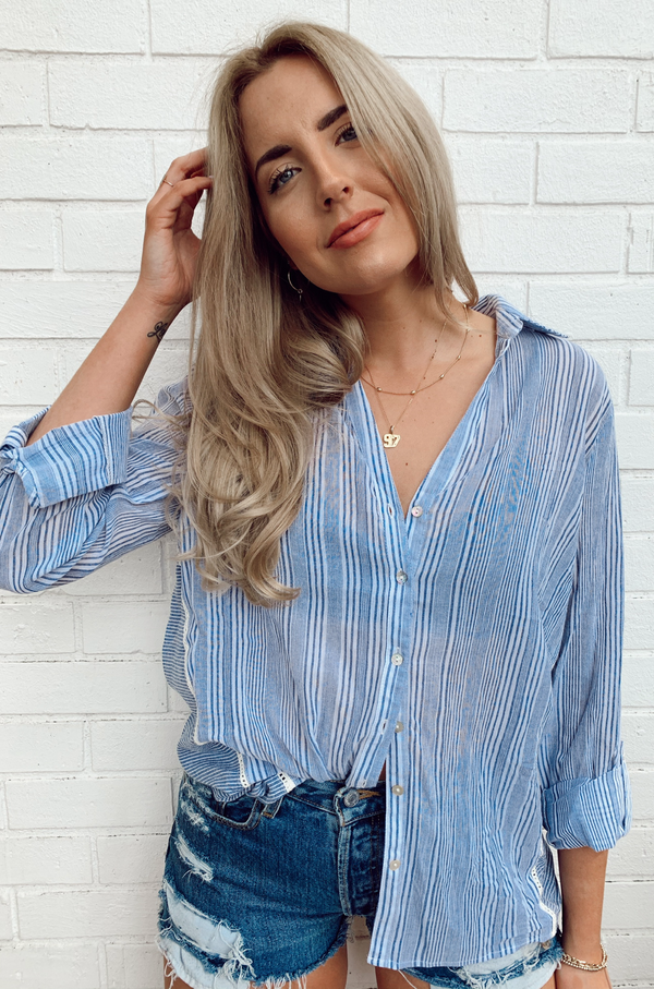 Kennidee Striped Button Up Top