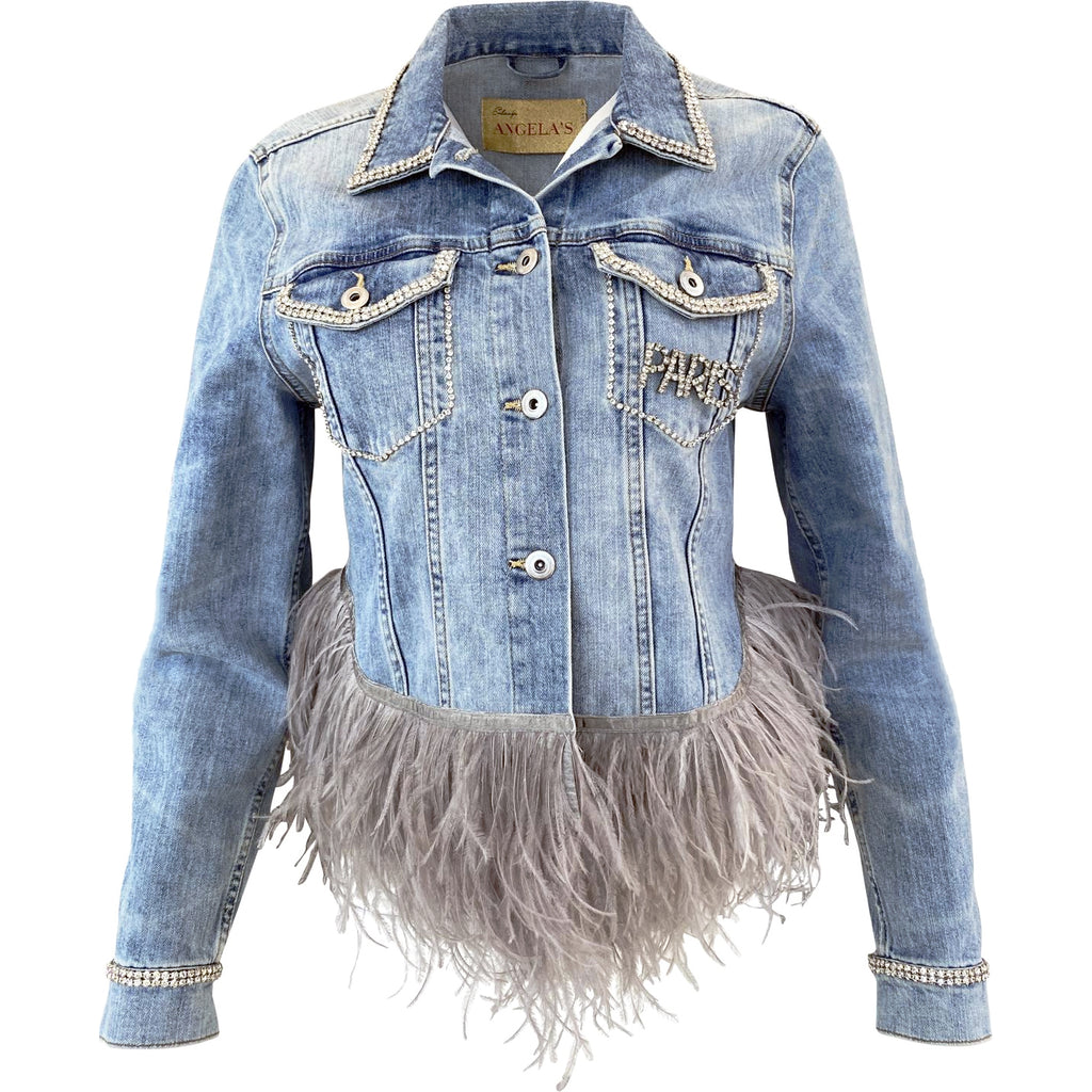 ANGELAS- Denim Jacket with Crystal and Ostrich Feather Detail