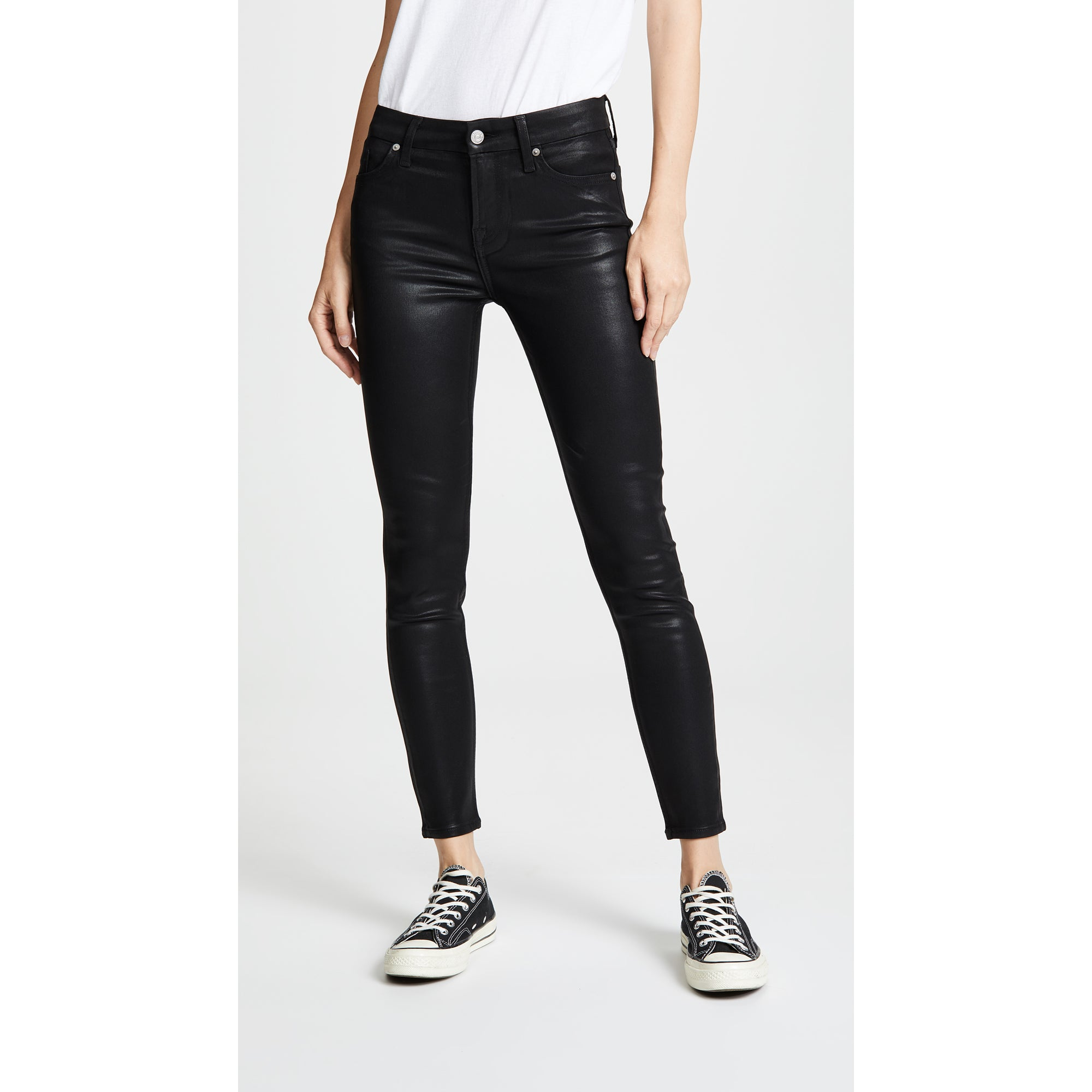 7 For All Mankind- High-Rise Coated Ankle Skinny Jeans
