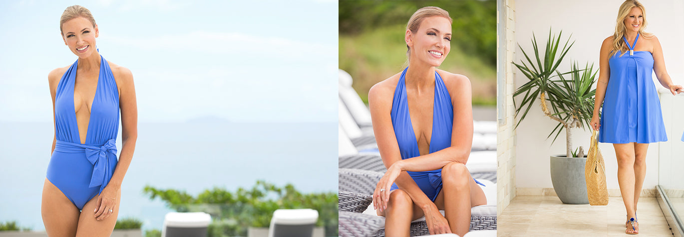 Shop blue cornflower blue swim and resort wear from Tara Grinna