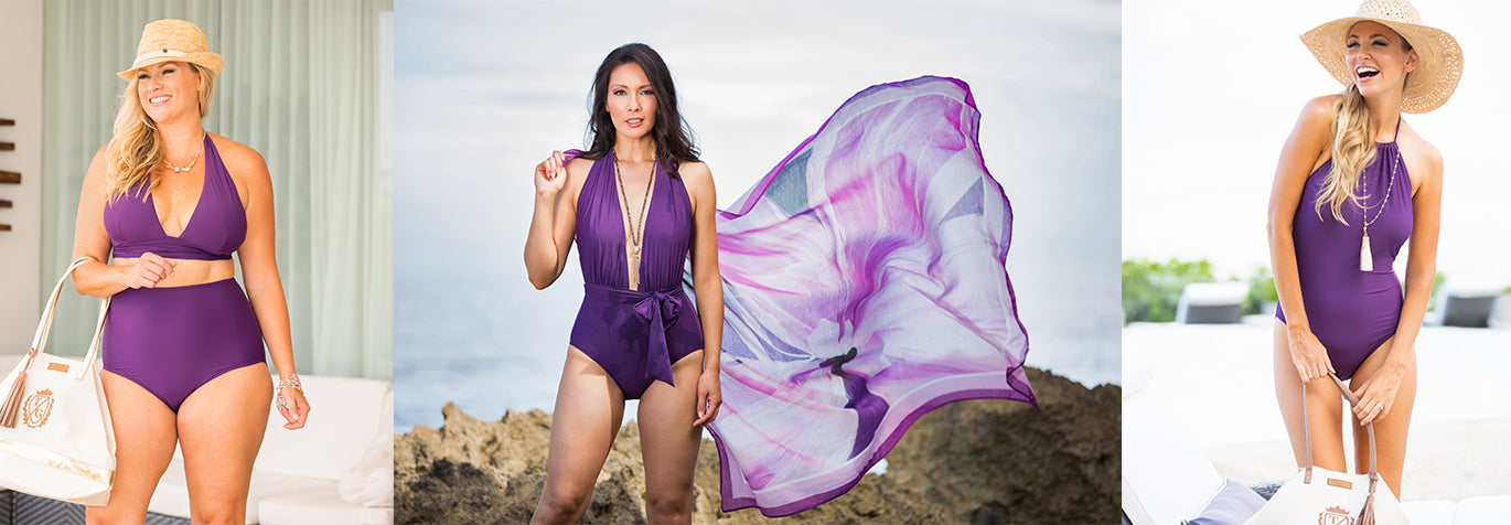 The eggplant collection from Tara Grinna Swimwear