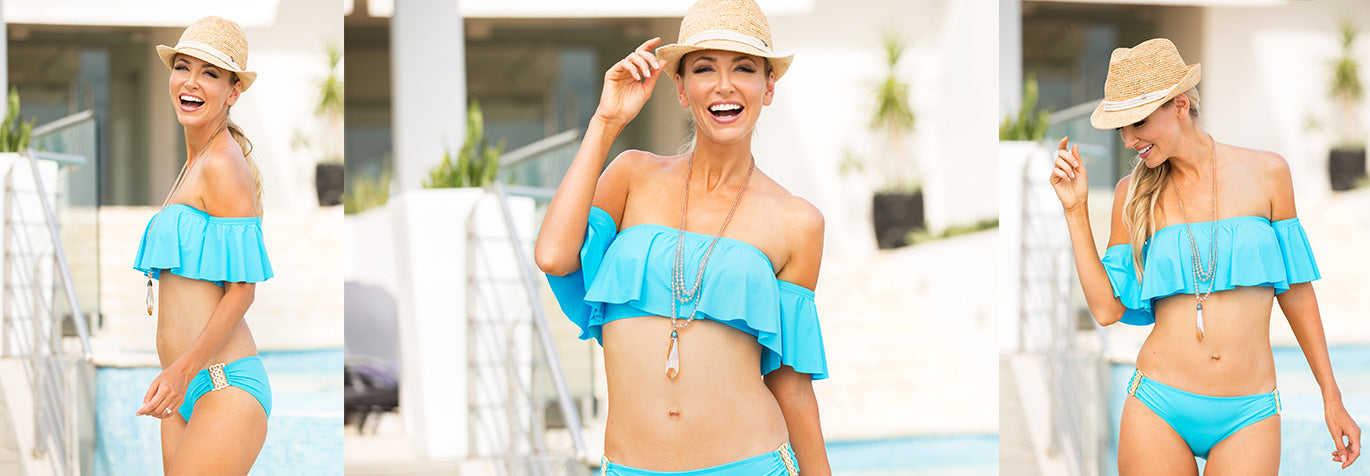 Turquoise swimwear from Tara Grinna.