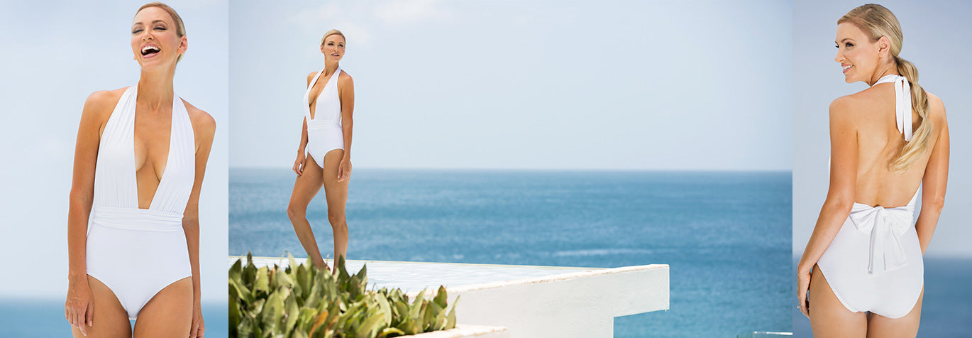 White swimwear collection from Tara Grinna