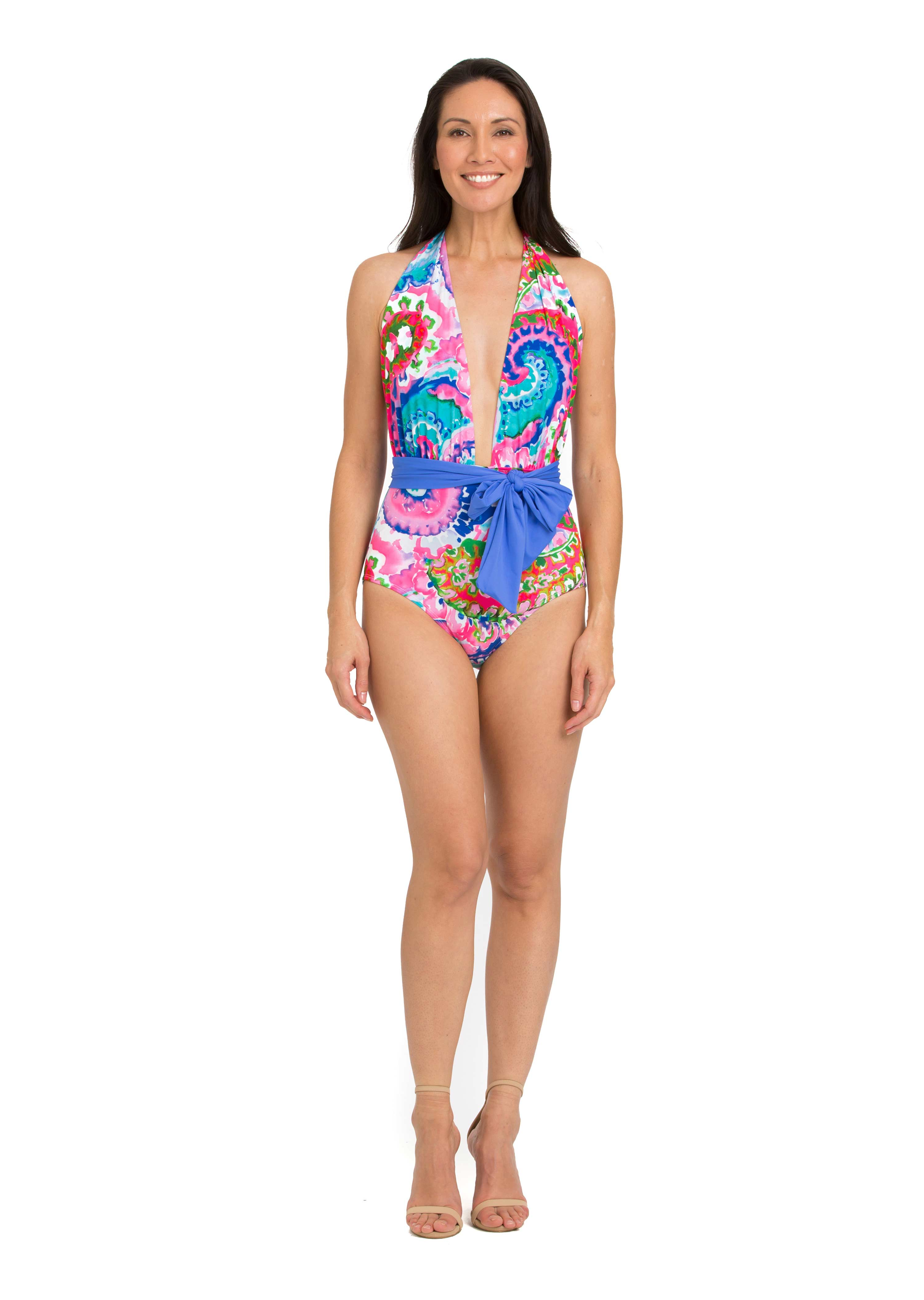 1f2603a66e5972 Print One Piece Plunge with Removable Belt | Tara Grinna Swimwear ...
