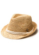 Fiona Raffia Fedora with Natural Trim