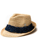 Raffia Fedora with Navy Trim