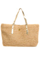 Raffia Shoulder Tote with Gold Strap
