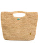 Raffia Hand Bag with Turq Closure