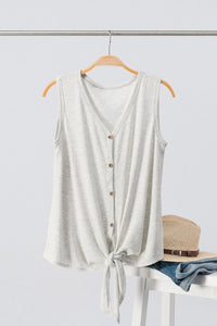 Waffel Twist Tank Top - Heather Grey