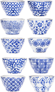 "10 Assorted 5.5""D Blue Pattern 18 Oz Bowls"