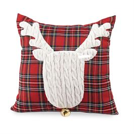 Reindeer Cable Knit Tartan Pillow