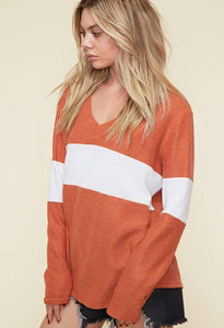 Rust / Ivory Color Block Shirt