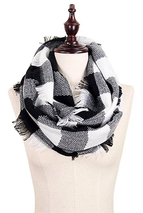 Black & White Checkered Woven Infinity Scarf