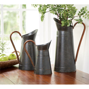 Galvanized Tin Pitchers - Three Sizes