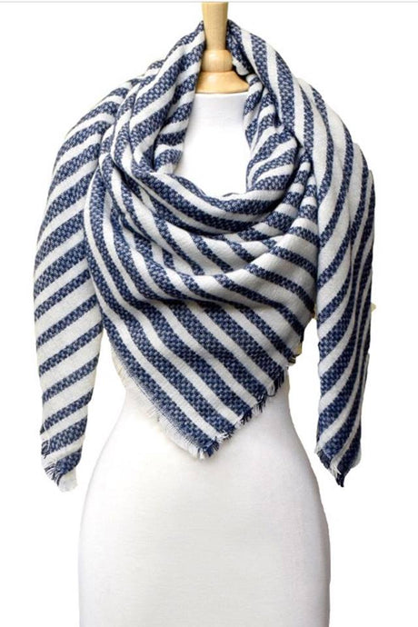 Striped Knit Blanket Scarf | Navy