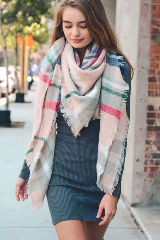 Classic Plaid Blanket Scarf | Light Pink