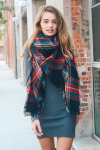 Classic Plaid Blanket Scarf | Black, Green & Red
