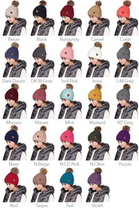 FLEECE LINED C.C. Pom Pom Knit Hats | 18+ color options!