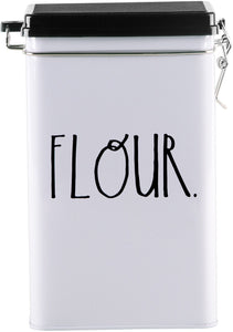 "Rae Dunn 8"" ""Flour"" Tin Storage Box"