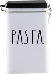 "Rae Dunn 8"" ""Pasta"" Tin Storage Box"