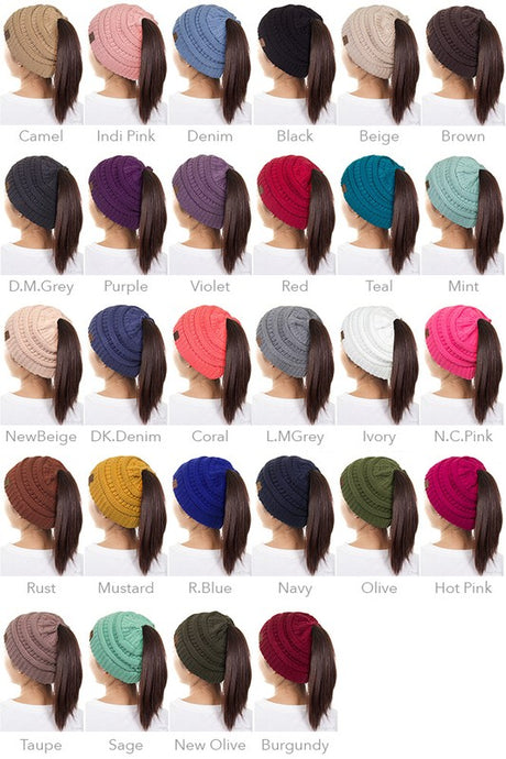 C.C. Ponytail Beanie - 5 different color options!