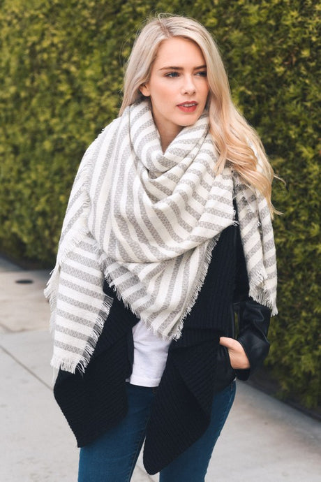 Striped Knit Blanket Scarf | Grey