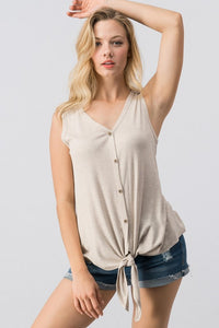 Waffel Twist Tank Top - Oatmeal