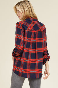 Perfect Plaid Top - Red and Navy