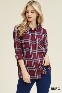 Perfect Plaid Top - Maroon