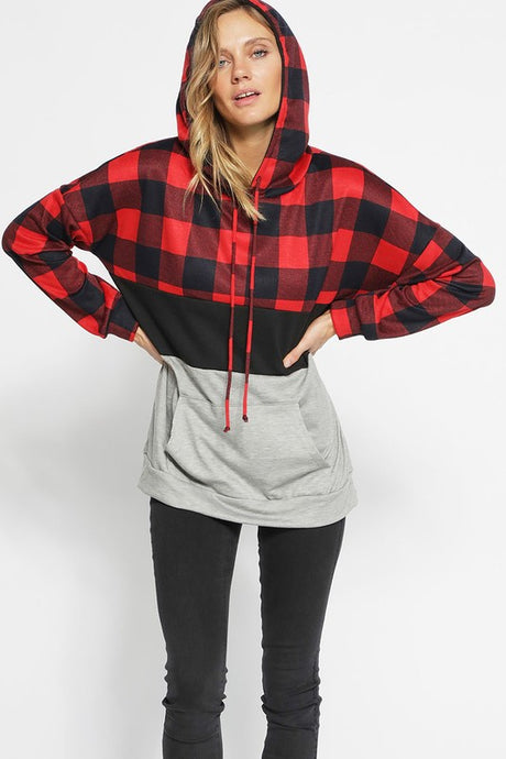 Knit Checkered Hoodie